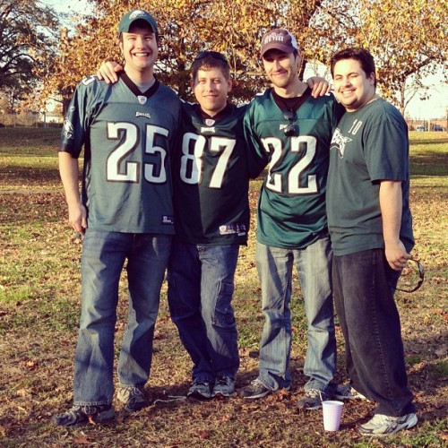 For six years us four friends have gone to one Eagles game a year no matter what. It's one of my favorite traditions. #eagles #hs