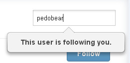 Pedobear has been following me since 2008. I'm glad he/she/it is still around! I'm also happy that a lot of you from that time are still here almost five years later. Of course, I'd like to welcome my new followers, too!