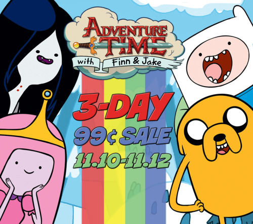 adventuretime:  Digital Comic Book Sale The crew at comiXology is in the middle of a three-day sale of the first six issues of kaboom!'s Adventure Time comics in digital form. JUST 99 CENTS EACH. This crazy price ends tomorrow night, so buy now.