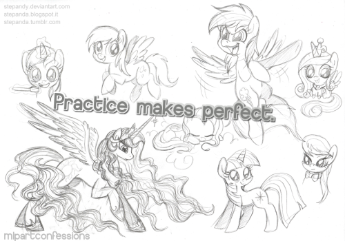 mlpartconfessions:  I think that drawing ponies is a great practice for beginners. Ponies' anatomy isn't really hard and they're just fun to draw. Though it's not an excuse to avoid drawing humans, of course (submitted by anonymous)  very true… i'm great at drawing ponies i think, and alright at backgrounds, but not much else XP