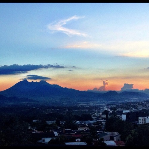 View from our balcony :) @flaviomena7 #sunset #guatemala #volcanoes #beautiful #sky #instagood #instadaily #iphonesia