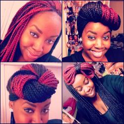 cupcakesfordiamonds:  creativity & color — change it up sometimes.  box braids that I did on myself.  she want that old thing back.
