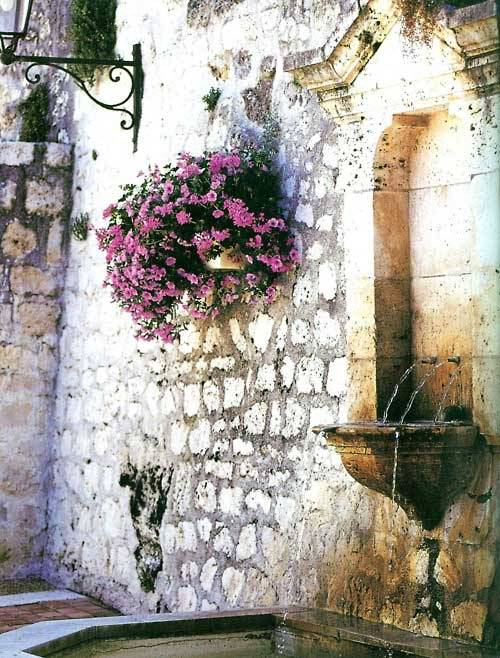 mymindmyworldmyrules:  Flowers on white rock wall.