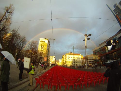 """11541 chairs were placed in Sarajevo, 1 for every child killed in the Bosnian war. When they were done, a rainbow appeared."""