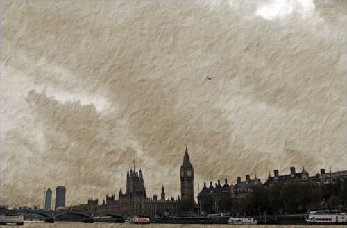 Houses of Parliament and Big Ben from the River Thames, London