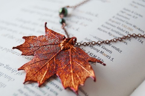Small Fallen Copper Maple Leaf Necklace by EnchantedLeaves on Etsy