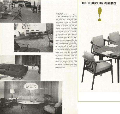 Dux Inc New Showroom, NYC, designed by Sylve Stenquis October, 1962