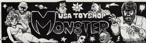Advertisement for a Japanese toy store specializing in American toys and model kits. I love seeing how Japanese artists interpret American monsters. Hobby Japan EX, Autumn 1993.