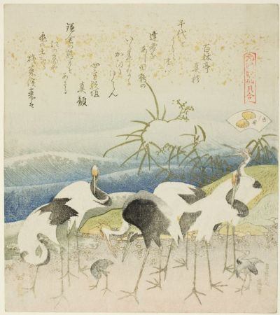 "mucholderthen:  Katsushika Hokusai  Japanese, 1760–1849 Cranes by the ShoreIllustration for The Leg Shell (Ashigai), from the series ""A Matching Game with Genroku-period Poem Shells (Genroku kasen kai awase)"", 1821 Color woodblock print with metallic pigments; surimono shikishiban [ via thejapanesewoodblock ]"