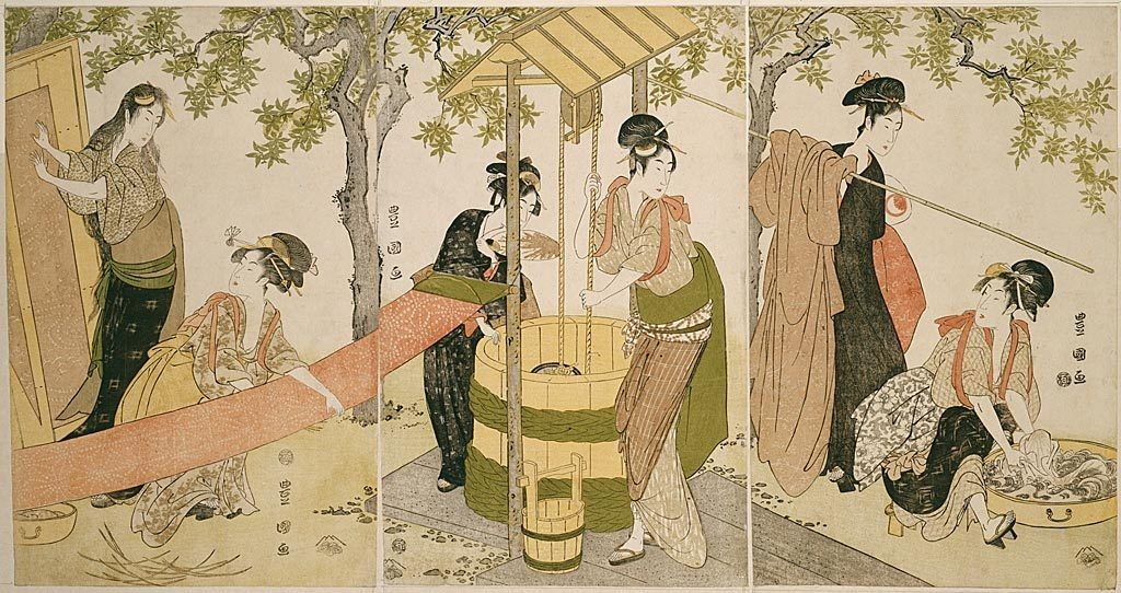 thejapanesewoodblock:  Utagawa ToyokuniJapanese, 1769-1825 Doing the Laundry by the Well Curb (Idobata no sentaku to araihari), c. 1795 Color woodblock prints; oban triptych