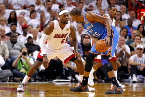 LeBron James v. Kevin Durant (2012 NBA Finals, Game 3) [Source: Yahoo! Sports; Photographer: Mike Ehrmann/Getty Images]