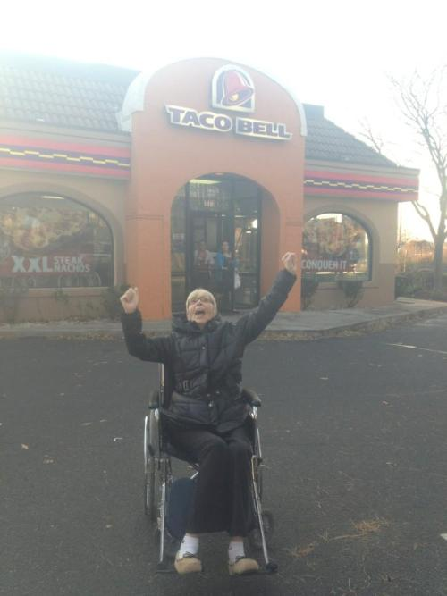i11usions:  when we snuck my grammy out of her rehabilitation center to bring her to taco bell