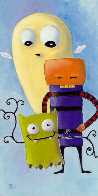 julie-roehling:  This is an oil painting I did of 3 monsters. All original characters.   #art #paint #oil #monsters