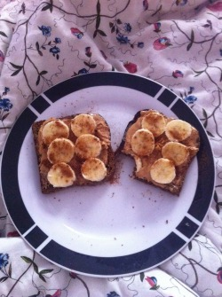 Breakfast from this morning - PB and banana on toasted rye bread sprinkled with cinnamon!
