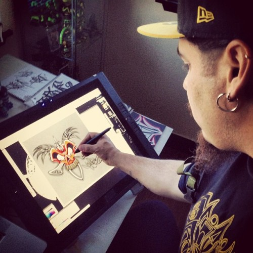@urbanaztec doing his thing. (at Golden West Tattoo)