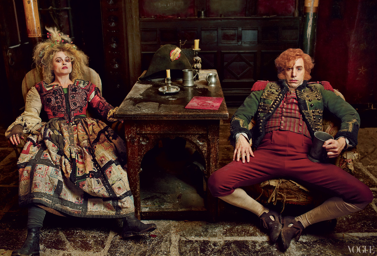 suicideblonde:  Helena Bonham Carter and Sacha Baron Cohen as Madame and Monsiuer Thénardier in Les Misérables photographed by Annie Leiboivtz
