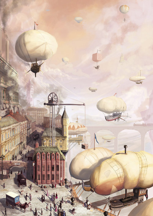 mvessick:  The Airship Docks by ~SpikedMcGrath on deviantART on We Heart It. http://weheartit.com/entry/42213164