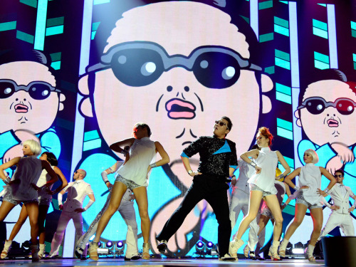A still from the 2012 MTV EMA awards.  I animated some dancing characters for the Psy 'Gangnam Style' screens.  You can check out the performance here @ http://tv.mtvema.com/video/playlist/2012-ema-performances Photo is taken from MTV.co.uk
