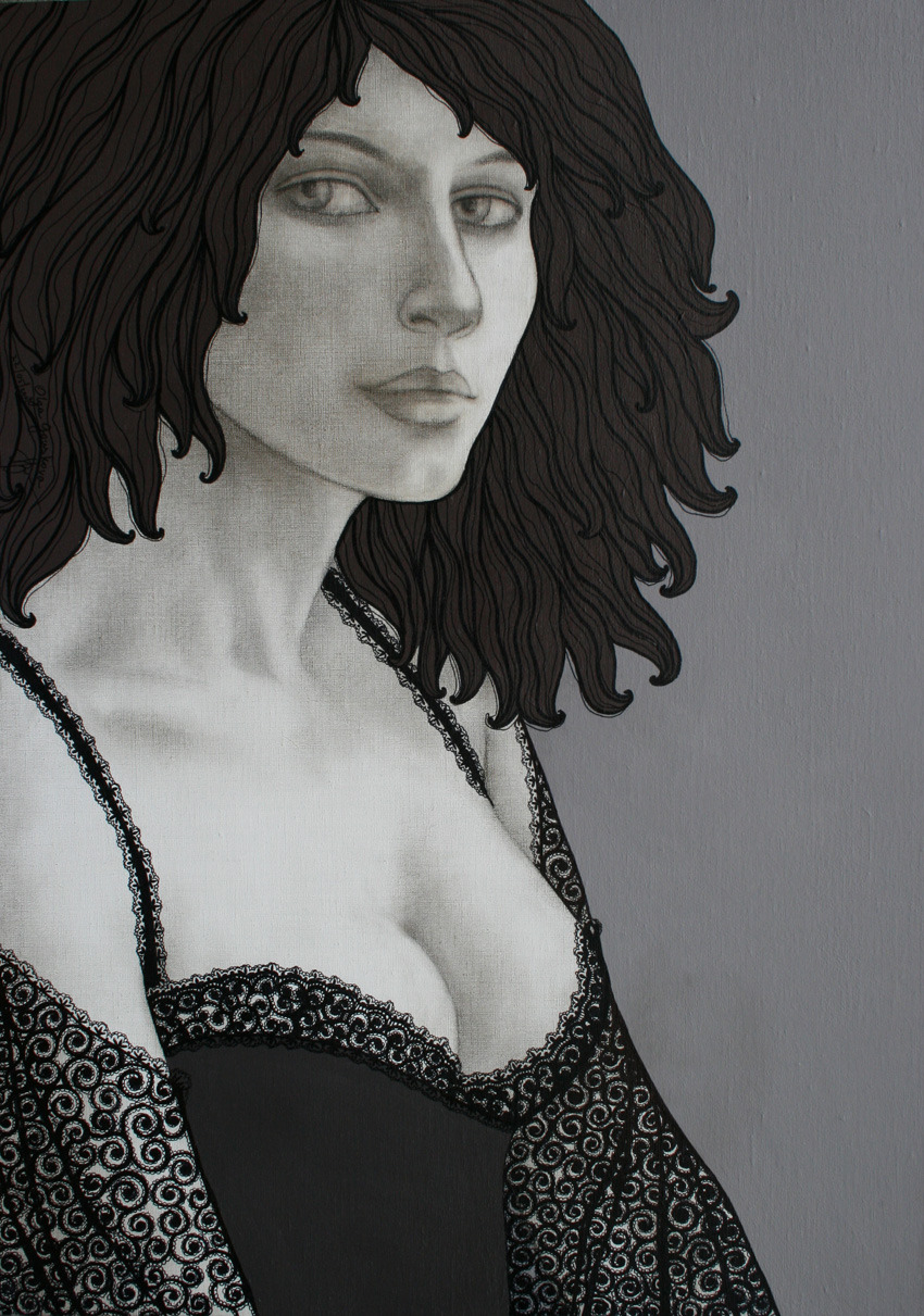 MARGO50x70 cmacrylic on canvas, sepia pencil, acrylic pen2007