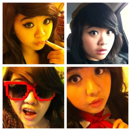(upper left) me with long hair :D (upper right) me with shortish hair with hat! (lower right) normal look and me with pig tails. #looks #different #cool