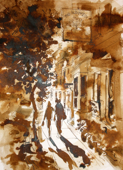 Sepia ink drawing of Park Street, Woodstock where I live. Working with ink on wet paper keeps you on your toes – ink is a very concentrated medium and spreads fast!