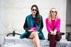 topshop:  We can't stop starring at these two popping outfits. A furry coat or pink wooly knit always needs a matching clutch.