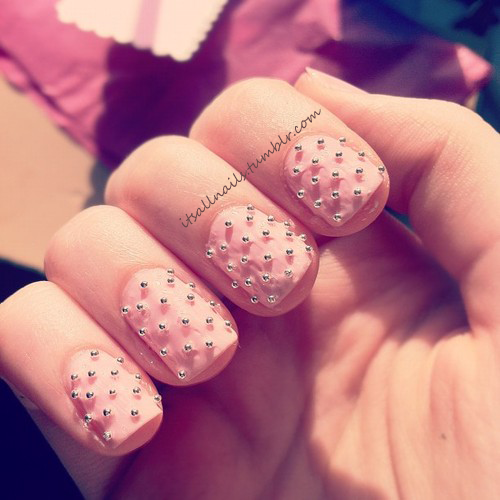 pink studded nails for my friends 21st!
