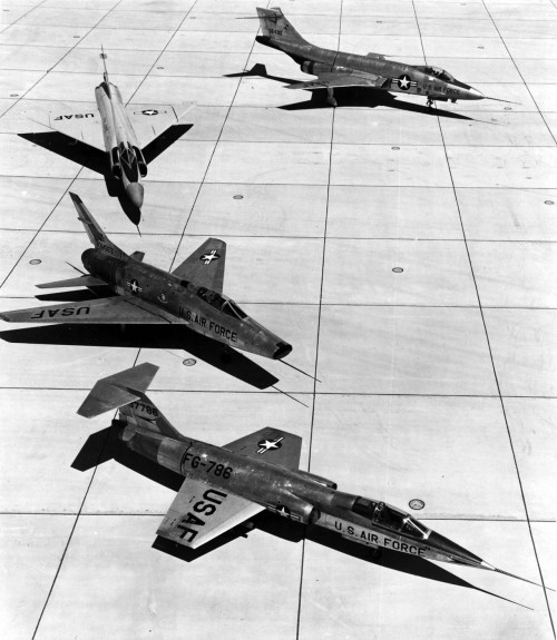F-100A (S/N 53-1663), F-101 (S/N 53-2430), F-102 and F-104 (S/N 53-7786) on the ramp. (U.S. Air Force photo).