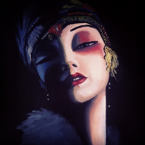 Close up of flapper…#art #painting #paint #oldfashion #old #portrait #face #eye #eyes #love #beauty #fashion #light #shadow