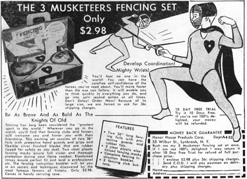 Post: Three Musketeers Fencing Set (1956)