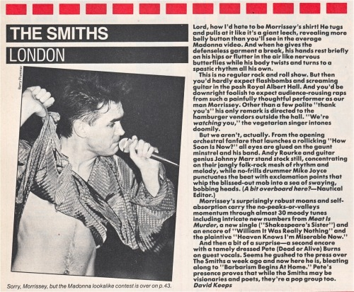 Review of The Smiths' April 1985 gig at the Royal Albert Hall in London, by David Keeps for Star Hits.