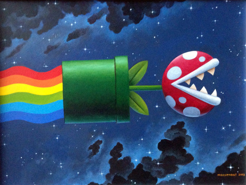 "xombiedirge:  Nyan Pipe by Mikeatron / Tumblr / Store 11"" X 14"" Acrylics on board, available HERE. Part of the Pop! 2 art show at Ltd Art Gallery / Tumblr"