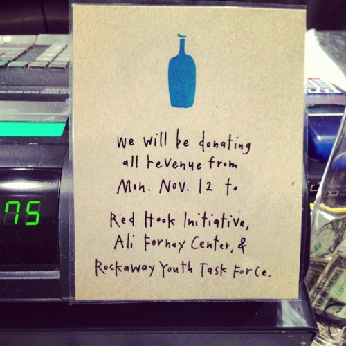 All NYC Blue Bottle locations will be donating 100% of revenue to Sandy aid today. This is an awesome cause, plus it's beautiful out, so drink some iced coffee.  [Photo via Instagram, mattduckor]