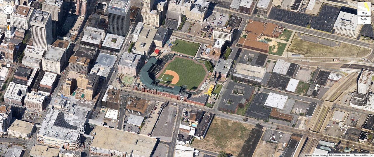 Auto Zone Park. Memphis, Tennessee. Home of the Memphis Redbirds, Triple-A affiliate of the St. Louis Cardinals.