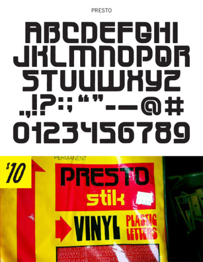 PRESTO - UPPERCASE WITH PUNCTUATION AND NUMERALS. $10.00 - Buy Now