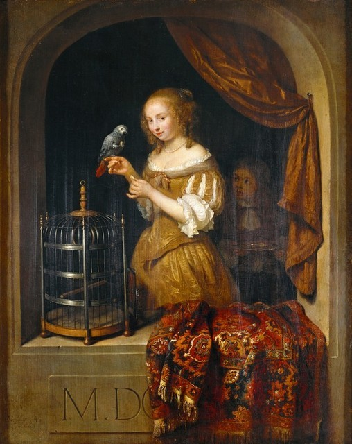 thestuartkings:  Lady at the Window, 1666 By Caspar Netscher