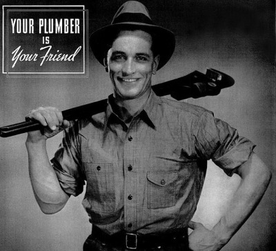 valscrapbook:  your plumber is your friend 1937 2 by Captain Geoffrey Spaulding on Flickr.  My plumber is Matthew McConaughey.