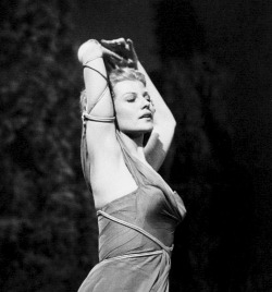Rita Hayworth rehearsing a dance routine as Terpsichore in Down To Earth, c. 1947.