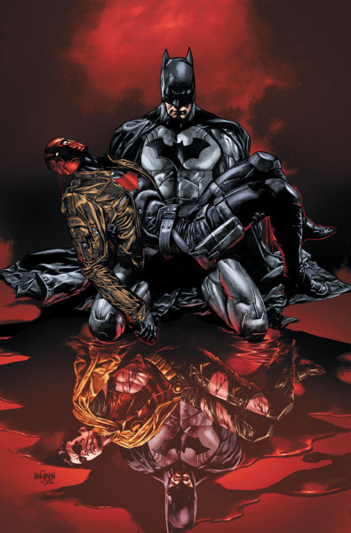 "fuckyeahdcu:  RED HOOD AND THE OUTLAWS #17 Written by SCOTT LOBDELL Art by TIMOTHY GREEN II Cover by MICO SUAYANOn sale FEBRUARY 20 • 32 pg, FC, $2.99 US • RATED T • In the wake of ""DEATH OF THE FAMILY,"" Bruce Wayne confronts Jason Todd! • You DO NOT want to miss this!  This is not okay! You don't just go around punching people in the FEELS with art, Mico Suayan! ALL OF THE BAT!PAIN IN ONE COVER IMAGE. Well played, Suayan. Well freakin' played."