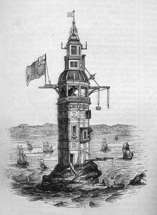"Winstanley's Lighthouse, c. 1860The first lighthouse on Eddystone Rocks was an octagonal wooden structure built by Henry Winstanley. Construction started in 1696 and the light was lit on 14 November 1698. During construction, a French privateer took Winstanley prisoner, causing Louis XIV to order his release with the words ""France is at war with England, not with humanity"". The lighthouse survived its first winter but was in need of repair, and was subsequently changed to a dodecagonal (12 sided) stone clad exterior on a timber framed construction with an octagonal top section as can be seen in the later drawings or paintings, one of which is to the left. This gives rise to the claims that there have been five lighthouses on Eddystone Rock. Winstanley's tower lasted until the Great Storm of 1703 erased almost all trace on 27 November. Winstanley was on the lighthouse, completing additions to the structure. No trace was found of him, or of the other five men in the lighthouse. The cost of construction and five years' maintenance totalled £7,814 7s.6d, during which time dues totalling £4,721 19s.3d had been collected at one penny per ton from passing vessels."