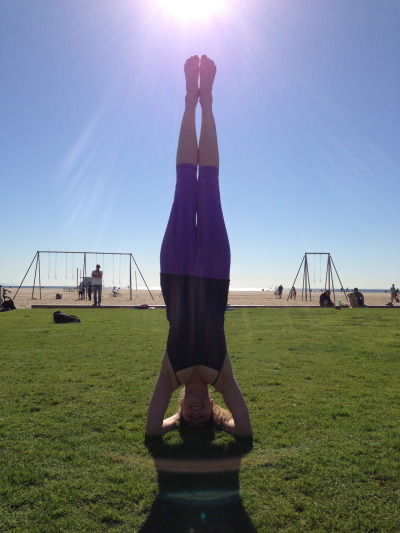 Sirsasana at Santa Monica Beach, CA