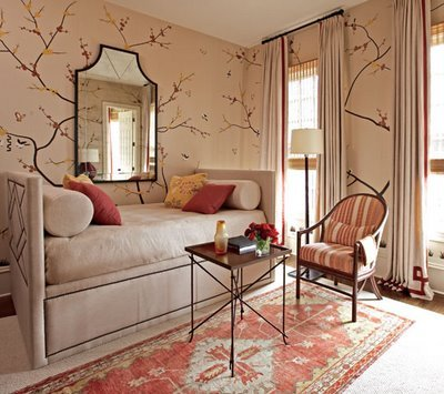 {…I like the daybed here in this Guest Room. I like the red trim that embellishes the draperies.}