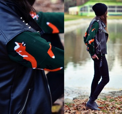 lookbookdotnu:  FOXY girl (by Kasia Gorol)  friends with my fox sweater :)
