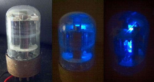 A sylvania electronic vacuum tube with a blue LED light installed.