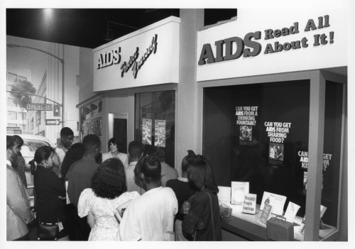 "explodingtorium:  ""What About AIDS?"" exhibition at the Exploratorium, 1996, photo by Esther Kutnick http://www.exploratorium.edu/AIDS/"