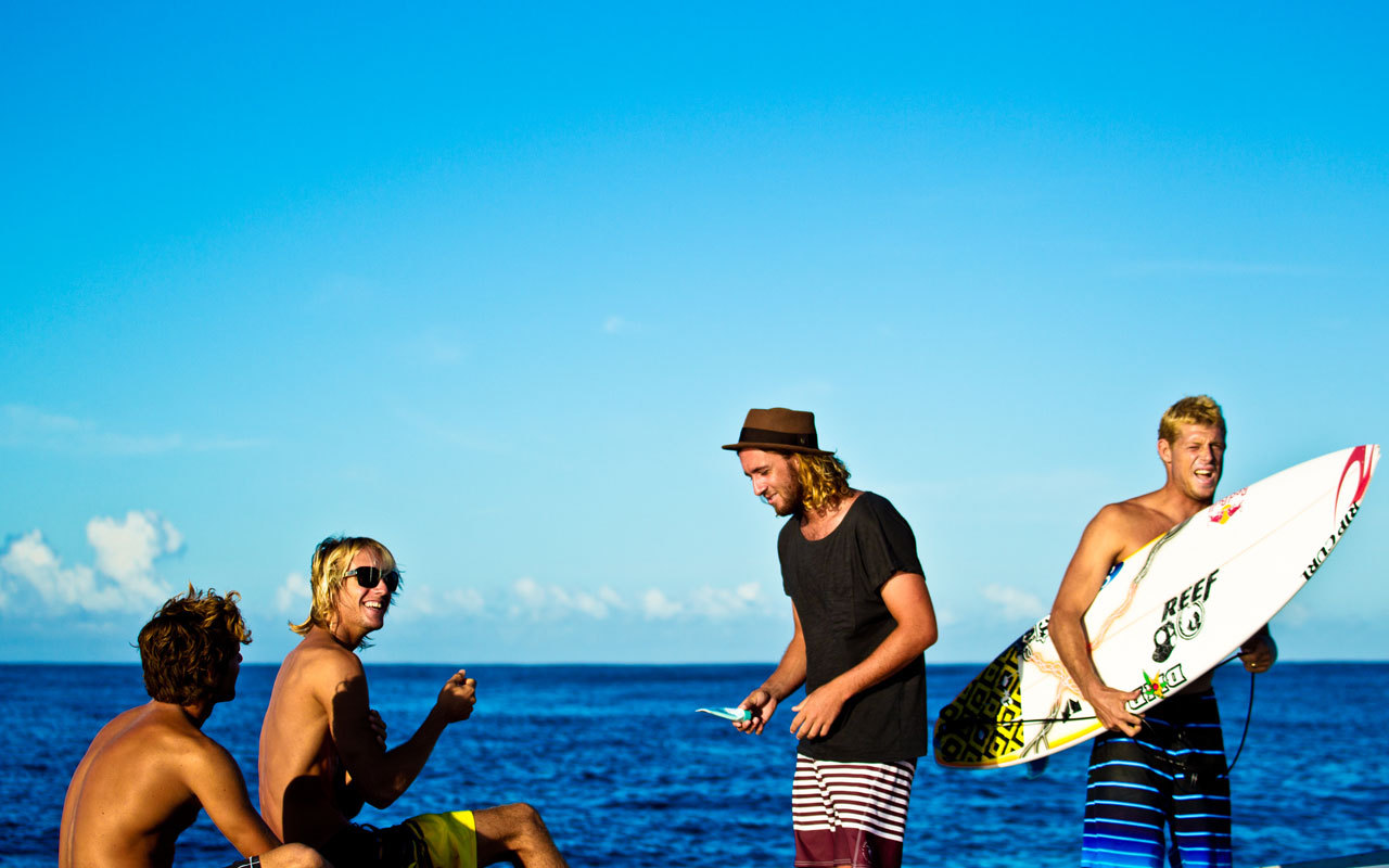 Dillon Perillo, Owen Wright, Matt Wilkinson and Mick Fanning 2011