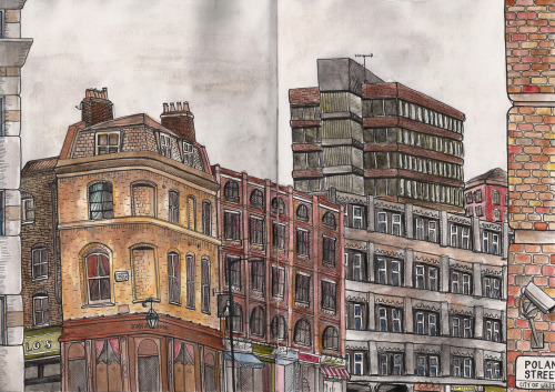 eatsleepdraw:  A drawing I did on location somewhere around Soho in London a couple of years ago.See more drawings here! : http://tanyasdrawings.tumblr.com/