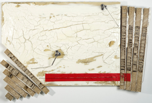 Ryan Blackwell: Untitled (Red Rectangle), 2012, Table Top, Clay, Oil, Acrylic, Curtain Wire, 41 x 28 x 2 in.