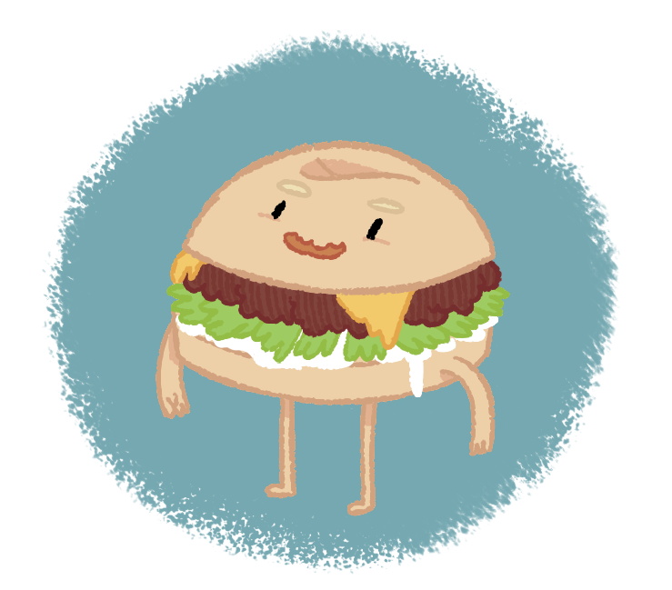 drawedgoods:  Drew this lil Adventure Time-y burger fella. - Dale  I was trying to figure out what I'd look like as a burger prince but I didn't get very far with it so I coloured this lil guy instead.