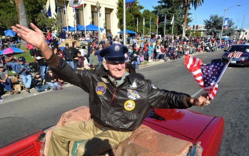 Fresno had its 93rd Annual Veterans Day Parade, yesterday. The parade is televised for military bases, across the world. 200 entries, 7,500 participants and 30,000-40,000 visitors makes Fresno's parade the largest Veterans Day west of New York City!  Photo credit: fresnobee.com